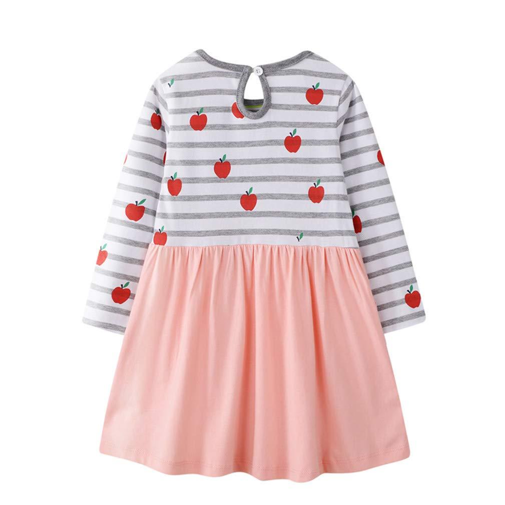 Long Sleeve A-line Dresses Cartoon Casual Clothes Dress Little Girls Cotton Dress