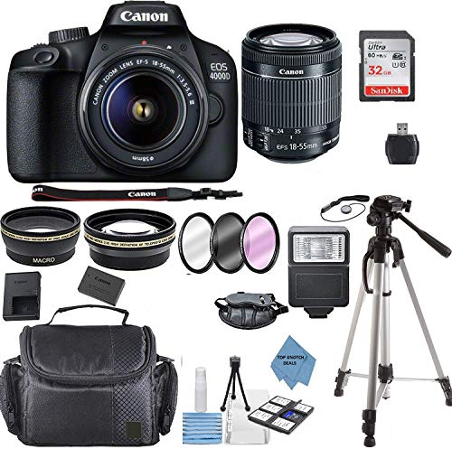 "Canon EOS 4000D Digital SLR Camera w/ 18-55MM DC III Lens Kit (Black) with Accessory Bundle, Package Includes: SanDisk 32GB Card + DSLR Bag + 50"" Tripod+TOPKNOTCH Deals Cloth(International Model)"
