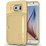TUDIA Ultra Slim Wallet Leather TPU Bumper Protective Case for Samsung Galaxy S6 with Card Slot Holder (Champagne)