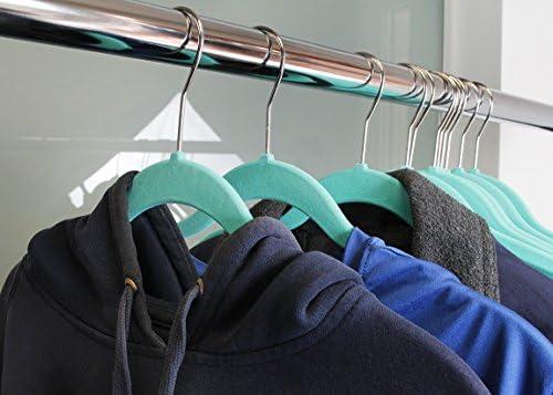 50-Piece Non-Slip Slim Velvet Hangers Juvale Velvet Shirt//Dress Hangers Space Saving Design Teal for Delicate Clothing