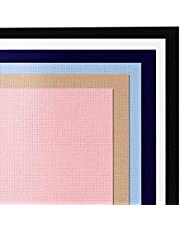 Gukasxi Aida Cloth 14 Count 6 Color Cotton Classic Reserve Cross Stitch Fabric Embroidery Cloth for Needlework DIY Handmade Art Crafts, 12 x 18 Inch (Black/White/Pink/Khaki/Sky Blue/Navy Blue)