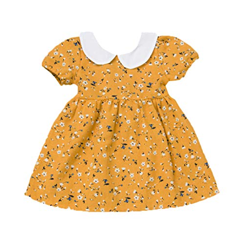 Toddler Girls Baby Skirt Dresses Princess Clothes Short Sleeve Summer Floral Printed Skirt (Age: 3-6 Months, Yellow)