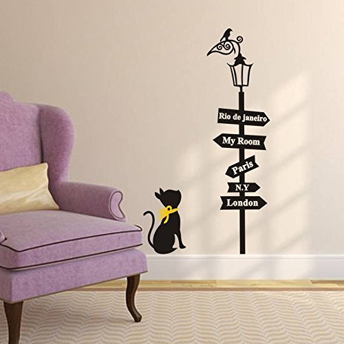 Mfeir® Stickers Muraux Chambre Adulte Cat Et Indicateur 50 X 70Cm