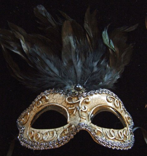 Greco Mask Black Jewel Feathers Halloween Mardi Gras Costume Masquerade New Orleans Prom -