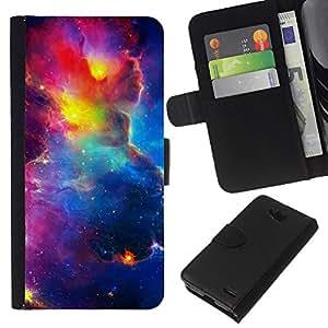 KLONGSHOP // Tirón de la caja Cartera de cuero con ranuras para tarjetas - Vibrante Cielo Espacio Universo Cosmos Nebulosas - LG OPTIMUS L90 //