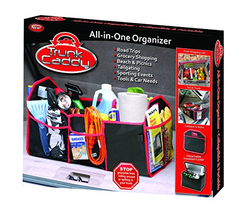 TC-12 Black with Red Trim Trunk Caddy All-In-One Trunk Organizer with Hot and Cold Storage Pouch
