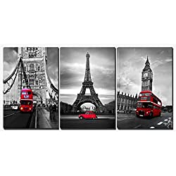 Xinqi art 3 Panels Black and White Pairs Eiffel Tower with Red Car London's Big Ben Clock and London Bridge with Red Bus Canvas Wall Art, Ready to Hang for Living Room Bedroom Office (16X24inchX3)