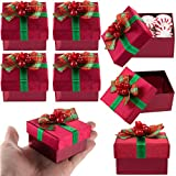 For-Keeps! 8 Pack Red Mini Gift Boxes With Lids, Pre Wrapped Gift boxes with Bows, Christmas Party Favor Bulk Set