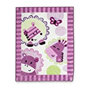 Lambs & Ivy Hopscotch Jungle Circle of Friends Warm & Cozy Blanket, Pink/Purple/White