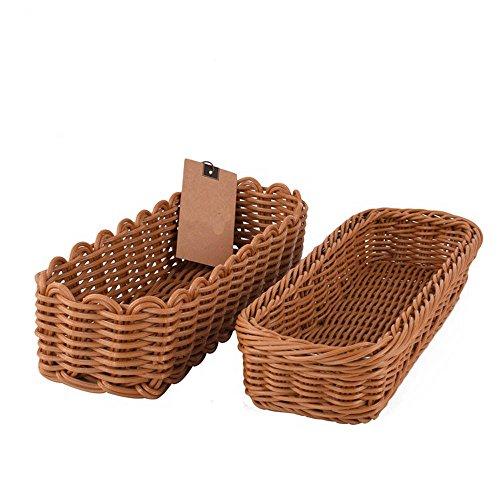 Xuancar Poly-Wicker Bread Basket, Long Woven Tabletop Food Serving Basket,Set of 2 Baffles