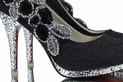 AalarDom Mujeres Lentejuela Puntera Abierta De Salón con Flor y Diamante de Imitación Negro-DF