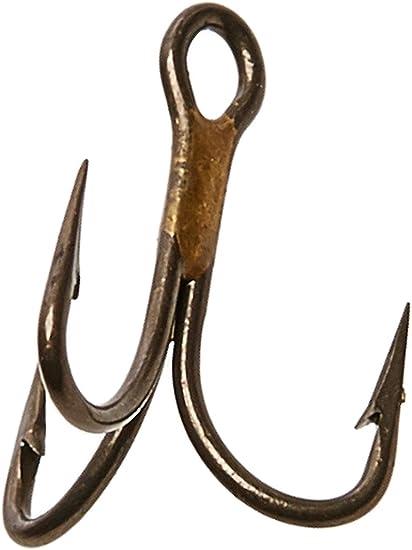50 fishing treble hooks Eagle Claw 374F-10 bronze 2x strong sz 10