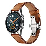 Silver Butterfly Buckle Replacement Leather Watch Bands, Quick Release Watch Strap for Huawei GT Watch 22mm (Brown)