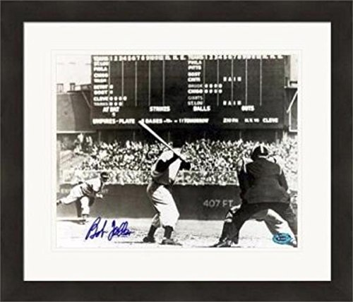 - Bob Feller autographed 11x14 Photo (Cleveland Indians) pitching to Joe Dimaggio Matted & Framed - Autographed MLB Photos