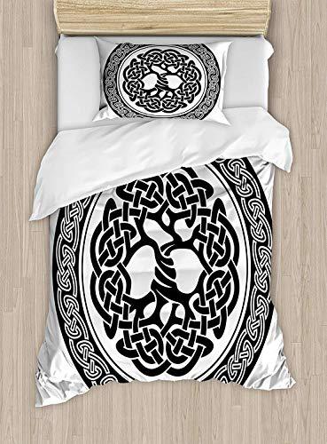 SINOVAL Celtic Duvet Cover Set Twin Size, Native Celtic Tree of Life Figure Ireland Early Renaissance Artsy Modern Design,Fashion 2 Piece Bedding Set with 1 Pillow Sham, Black White
