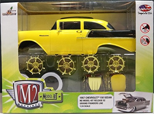 New 1:24 MODEL-KIT RELEASE 2 - 1957 Chevrolet 150 Sedan (CHASE CARS WITH GOLD COLOR WHEEL & ENGINES) Diecast Model Car By M2 Machines - 1957 Chevrolet Sedan