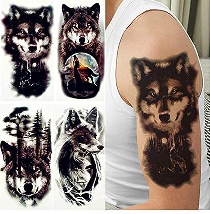 ruofengpuzi Adesivo tatuaggioFalso Lobo Tribal Tatuaje Mujeres ...