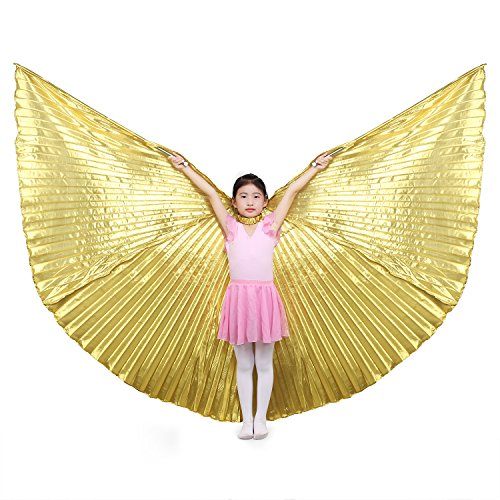 Children's Isis Costume (Dance Fairy Children Isis Wings Belly Dance,Gold(No sticks))
