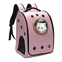 Pettom Foldable Detachable Large Breathable Bubble Carrier Home & Outdoor Waterproof Traveler Backpack Airline Approved Carrier Mobile Bed for Cats and Dogs (Large:Hold Pets Up To 22lbs, Pink)