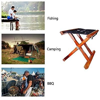Folding Stool in Solid Wood Hardwood Seat, Bench. Camping Fishing
