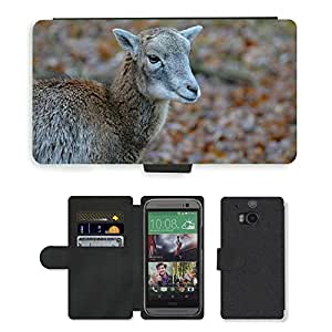 Super Stella Cell Phone Card Slot PU Leather Wallet Case // M00149239 Mouflon Wild Animal Nature Young // HTC One M8