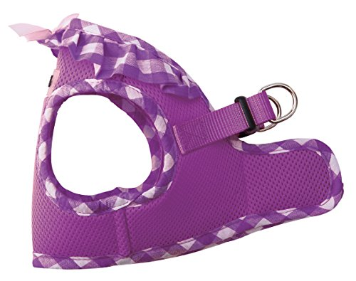 Dog Puppy Guardian Safety Vest (PUPTECK Checkered Frills Soft Mesh Dog Vest Harness Puppy Padded Pet Harnesses for Cat Small Dogs Purple Medium)