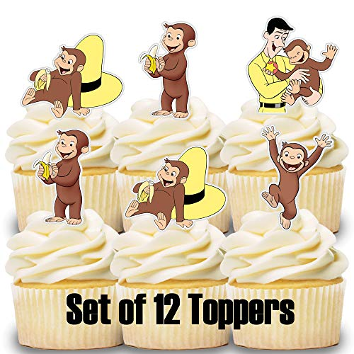 12 Cupcake Toppers Curious George Curious George Cake Decoration