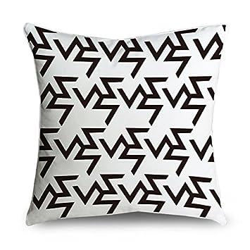 fabricmcc griego patrón geométrico blanco y negro cuadrado ...