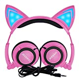 Kids Headphones, Barsone Wired Cat Ear Headphones,Foldable Cat Cosplay Earphone Over Ear Children's Headsets With Glowing Light, Girls/Boys/Young people Cute Headphones, Compatible for all smart phones and tablets (Pink)