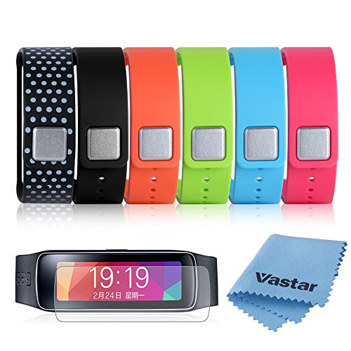 Vastar 6 in 1 (Black  Pink  Green  Light Blue  Orange  Black with White Dots Spots) Replacement Bands & Metal Clasps  Screen Protector Ultra HD Extreme Clarity & Touch Responsive Shield For Samsung Galaxy Gear Fit Smart Watch Bracelet Wristban...