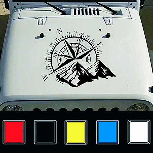 giftcity Car Decals- 1 Pcs Mountain Compass Decal-Car Sticker Decals, car Decal Vinyl Car Hood Decal for Car/Truck/Ford F150/Jeep Wrangler, Universal Scratch Hidden Car Stickers (Black)