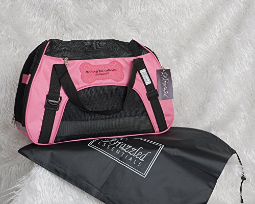 Airline approved pet carrier, plush bed, reflective stripe for nights, collapsible, designer soft sided dog carrier with the tag line Nothing But Cuteness in Here (Small, Pink)