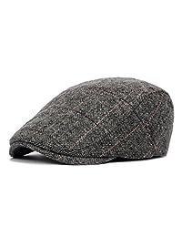Anshili Men's Plaid Hat Wool Blend Ivy Cap Warm Beret (E)