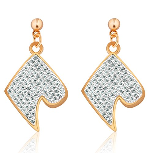 GULICX Gold Tone Heart Shape Inspired Drop Pierced Earrings White CZ Elegant Party