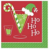 16 Holiday Toasts Ho Ho Ho Holiday Paper Napkins for Winter Merry Christmas Party Supplies Cocktail Luncheon New Year Wedding Birthday Bbq Dinner Wine Red Green White