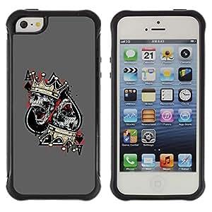 "Pulsar iFace Series Tpu silicona Carcasa Funda Case para Apple iPhone SE / iPhone 5 / iPhone 5S , As Picas Skull Crown King Gris"""