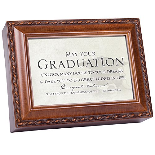 Cottage Garden Graduation Your Dreams in Life Rope Trim Inspirational Music Box Plays Pomp and Circumstance