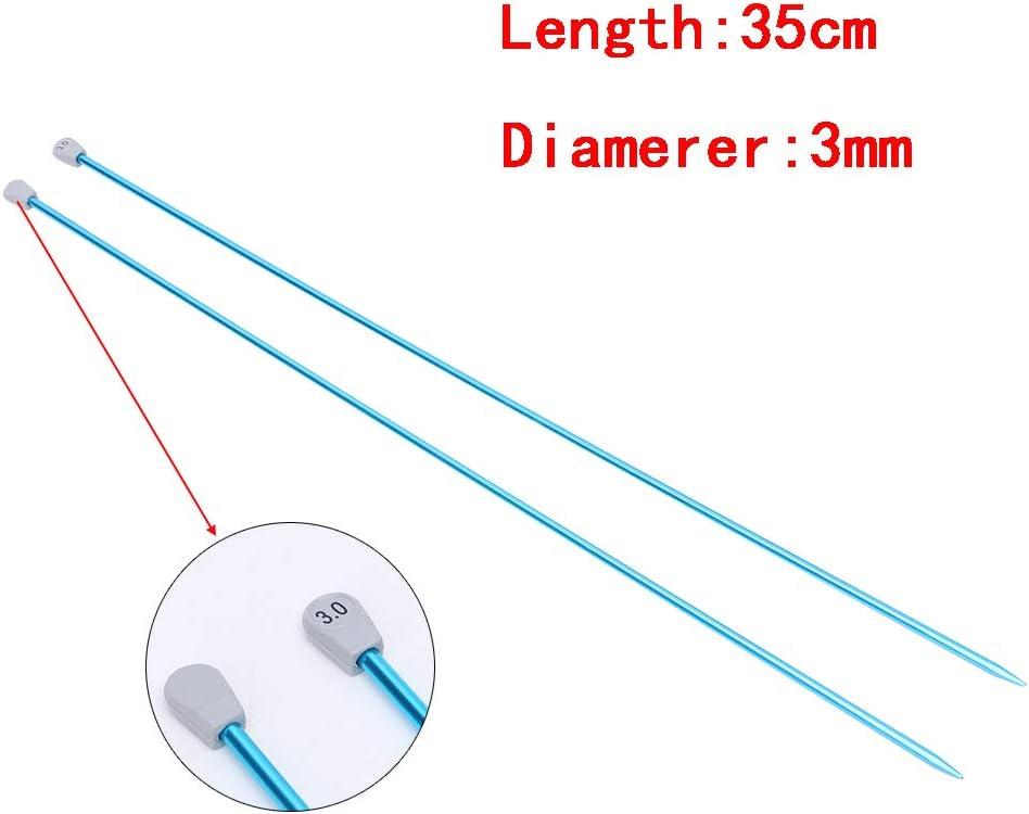 Herramienta De Tejido DIY Color Al Azar YANhonin 2Pcs 35cm Single Poin Knitting Needles Pins Aluminio Recto