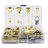 Picture Hangers, Picture Hanging Kit, YuCool 162 Pieces Picture Frame Hangers for Heavy Duty Picture Frame with Wall Mounting Nails, Tin Box Included (Golden, Silver)