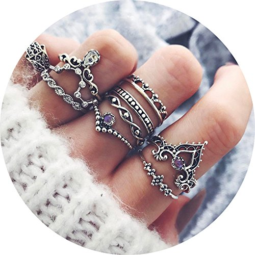 (10 Pcs Vintage Women Mid Ring Set Bohemian Crown Rhinestone Joint Knuckle Nail Midi Ring)