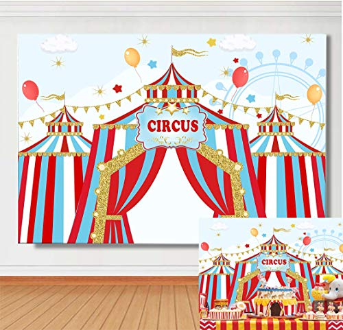 Baby Shower Circus Theme (TJ 7x5ft Circus Carnival Carousel Theme Photography Background Gold Big Top Tent Kids Baby Shower Birthday Party Photo Backdrops Baby Shower Studio Props Banner Cake Table Decor)