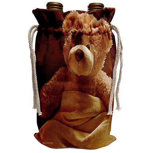 3dRose Doreen Erhardt Teddy Bears - Home Sick from The Bearfoot SocietyTM - Wine Bag (wbg_12016_1)