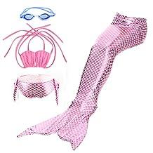 Kids Swimsuit,Mermaid Tail Swimmable Mermaid Swimsuit Swimwear Set Pink(M)