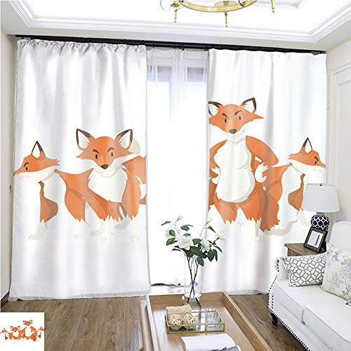Air Port Screen Four Foxes on White Background W72 x L78 Lemon Linen Loop top Curtain Highprecision Curtains for bedrooms Living Rooms Kitchens ()