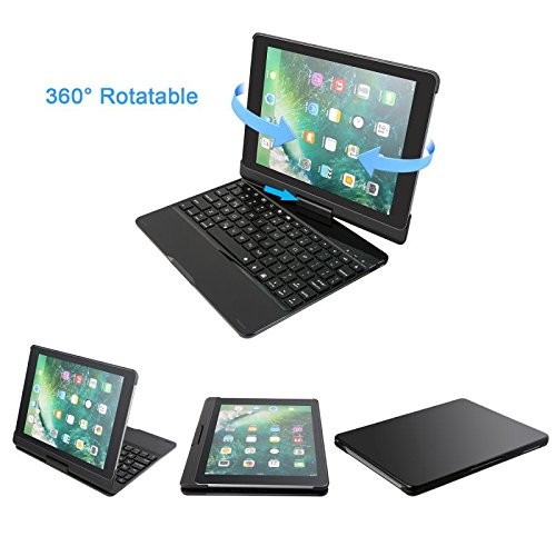 iPad Wireless Bluetooth Keyboard case.Suitable for all 9.7 iPad 2017/2018/Air/Air 2/Pro 9.7.360°Degree free spin .Have fun in life and work.Ultra-Slim Aviation Aluminum Keyboard case.Piano paint