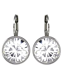 CP Baby Mini Bella Clear Crystal Rhodium-Plated Earrings Made with Swarovski Crystals