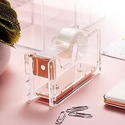 Zodaca [Deluxe Acrylic Design] Mini Desktop Tape Dispenser, Clear/Rose Gold (With Tape)