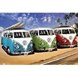 Posters: Cars Poster - VW Bus, Californian Camper, Beach (36 x 24 inches)