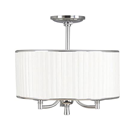 Home Decorators Collection 16644 Anya 5 Light Chrome Pendant With Pleated Cream Fabric Shade