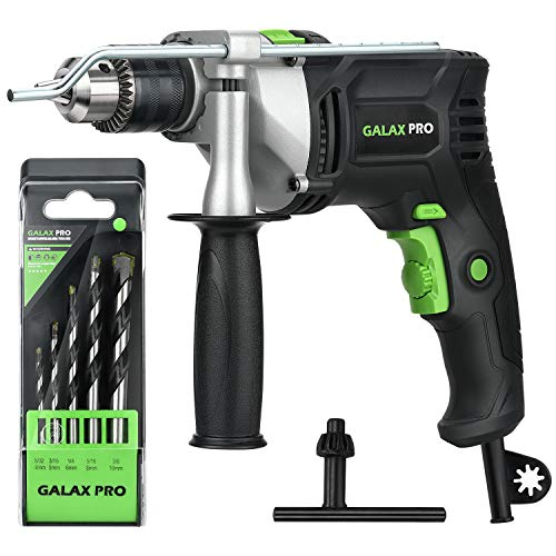 Hammer Drill, Galax Pro 1/2-inch 0-2800RPM Dual Switch Between Electric Impact Drill with 5 Drill Bit Set, 360°Rotating Handle, Aluminum Gear Case, Metal Depth Gauge for Brick, Wood, Steel